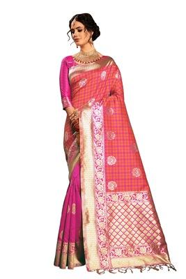 Orange woven faux banarasi silk saree with blouse