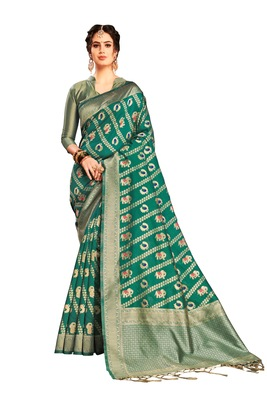 Green woven faux banarasi silk saree with blouse