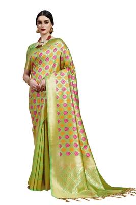 Lime woven faux banarasi silk saree with blouse