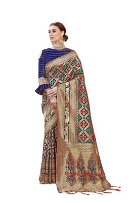 Multicolor woven faux banarasi silk saree with blouse