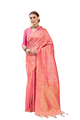 Pink woven faux banarasi silk saree with blouse
