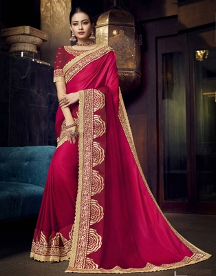 Pink embroidered silk saree with blouse