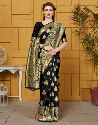 Black woven silk saree with blouse