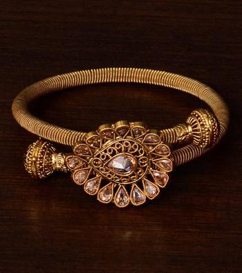 Copper Made Gold Plated Kundan Embellished Designer Bracelet BD335