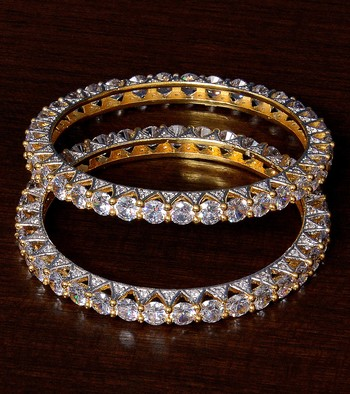 Gold Plated American Diamond (AAA Quality CZ) Embellished High-end Designer Bangles