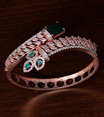 Rose Gold Plated Emerald and American Diamond (AAA CZ Stone) Embellished Designer Bracelet