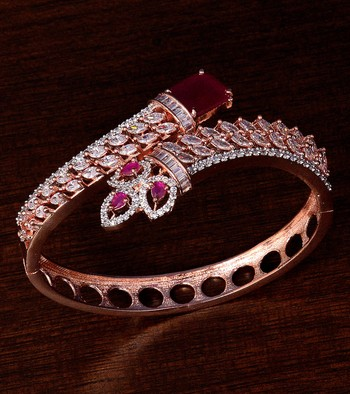 Rose Gold Plated Ruby and American Diamond (AAA CZ Stone) Embellished Designer Bracelet
