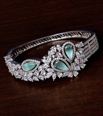 Rhodium Plated Sea Green Stone and American Diamond (AAA CZ Stone) Embellished Designer Bracelet
