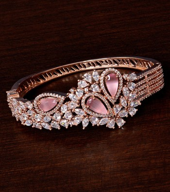 Rose Gold Plated Baby Pink Stone and American Diamond (AAA CZ Stone) Embellished Designer Bracelet