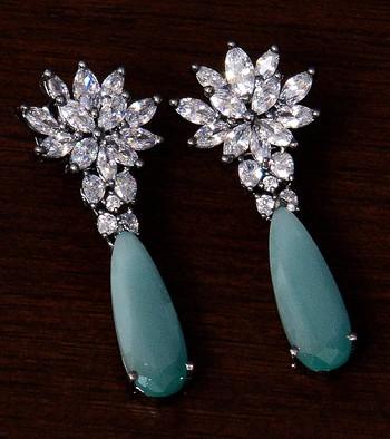 Black Gold Plated Sea Green Stone and American Diamond Embellished Designer Danglers 216ED232