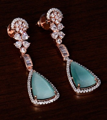 Rose Gold Plated Sea Green Stone and American Diamond Embellished Designer Danglers 216ED234