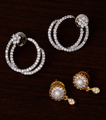 One Rhodium and One Gold Plated American Diamond Embellished Earrings 216ED240