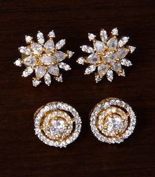 American Diamond Embellished Two Pairs of Designer Earrings Studs 216ED242