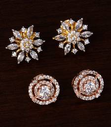 One Rose Gold and One Gold Plated American Diamond Embellished Earring Stud 216ED243