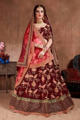 Attractive Maroon Colored Fine Embroidered Designer Semi Stitched Lehenga Choli For Women