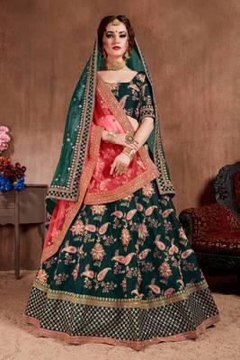 Attractive Dark Green Colored Fine Embroidered Designer Semi Stitched Lehenga Choli for Women