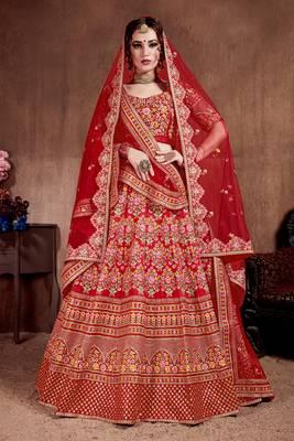Desiring Carmine Red Colored Fine Embroidered Designer Semi Stitched Lehenga Choli For Bride