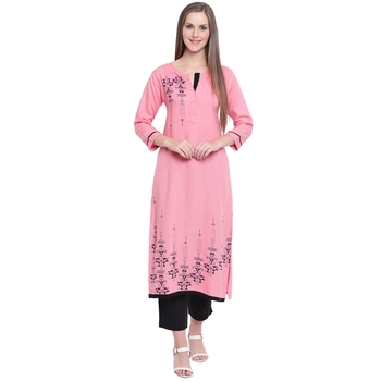 Pink printed rayon kurtas-and-kurtis