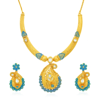 Yellow diamond collar-necklace