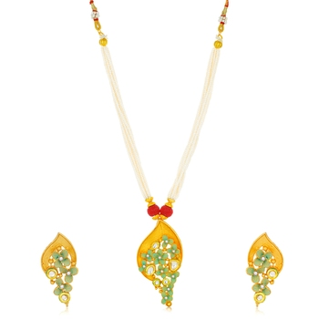 Yellow pearl collar-necklace