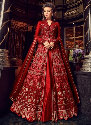 Ruby red  embroidered net anarkali
