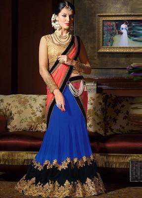 Dark Blue Embroidered Art Silk Unstitched Lehenga