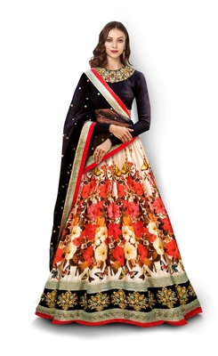 Multicolor Embroidered Velvet Unstitched Lehenga
