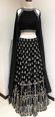 Black Embroidered Art Silk Unstitched Lehenga