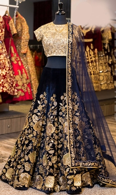 Navy blue Sequins Embroidered velvet Semi-stitched lehenga choli for Bridal