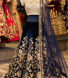 Navy Blue Sequins Embroidered Velvet Semi Stitched Lehenga Choli For Bridal