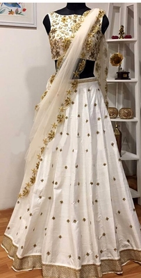 Off-white embroidered art silk unstitched lehenga