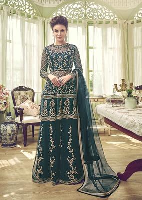Dark-teal embroidered net salwar