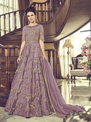 Lavender embroidered net salwar