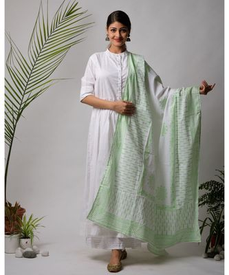 White hand block printed cotton kurtis