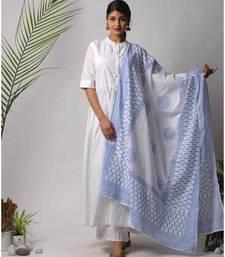 White hand block printed cotton kurtis