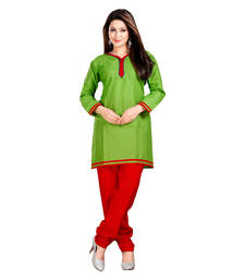 Buy Green and Red Color Embelleshes Cotton Kurtis kurtas-and-kurti online