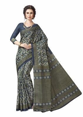 Light teal printed cotton saree with blouse