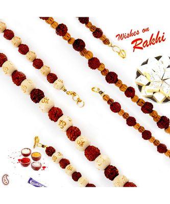 Set Of 2 Beads & Rudraksh Embellished Bracelet Rakhi