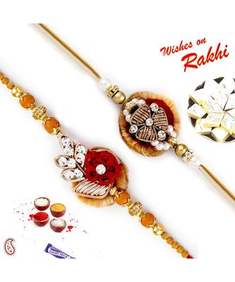 Set of 2 Rich Motif Zardosi Rakhi