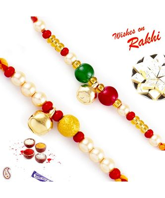 Set Of 2 Beads Mauli Thread Rakhi