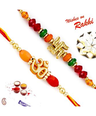 Set Of 2 Colorful Beads & Divine Motif Mauli Thread Rakhi