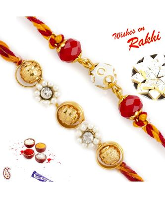 Set Of 2 Golden And Colourful Beads Rakhi With Pearl