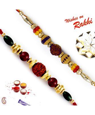 Set Of 2 Multicolour Beads And Rudraksh Rakhi