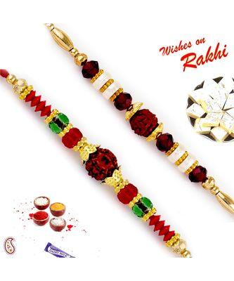 Set Of 2 Red & Green Crystal Beads Studded Rudraksh Rakhi