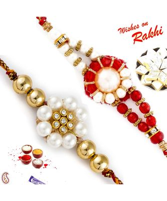 Set Of 2 White Pearl & Red Crystal Beads Thread Rakhi