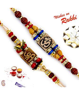 Set Of 2 Rudraksh Studded Divine Motif Rakhi