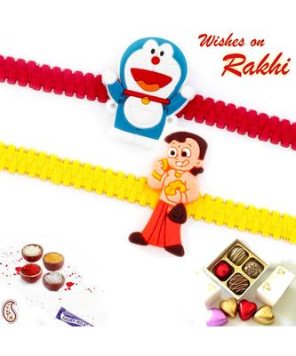 Set Of 2 Sweet Doremon And Bheem Band Kids Rakhi