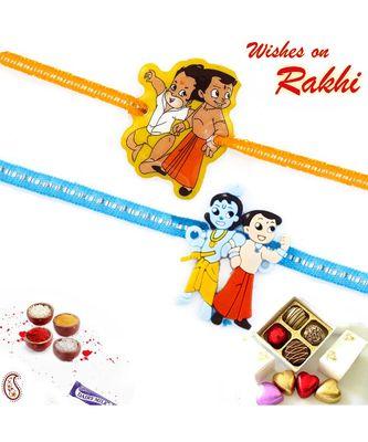 Set Of 2 Embellished Band Krishna & Balram Kids Rakhi