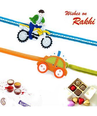 Set Of 2 Lovely Motif Kids Rakhi