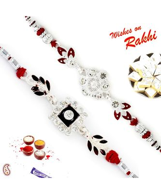Set Of 2 Ad Studded Floral Design Silver Rakhi